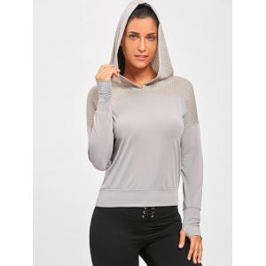 Sheer Breathable Sports Hooded T-shirt - GRAY L