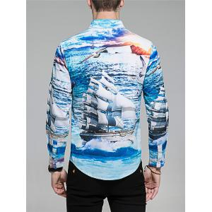 Hidden Button Sailing Ship Print Shirt -