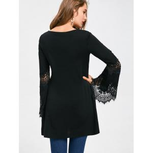 Lace Panel Flare Sleeve Embroidery Long Top -