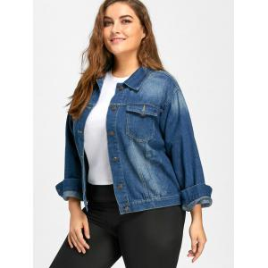 Faded Plus Size Flamingo Embroidered  Denim Jacket -