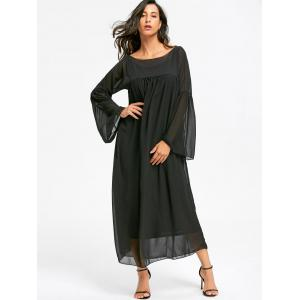 Empire Waist Floor Length Flare Sleeve Chiffon Dress -