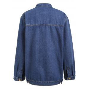 Plus Size Button Up Pocket Denim Jacket -