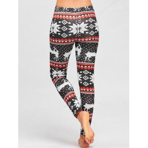 Christmas Snowflake ELK Printed Slim Leggings -