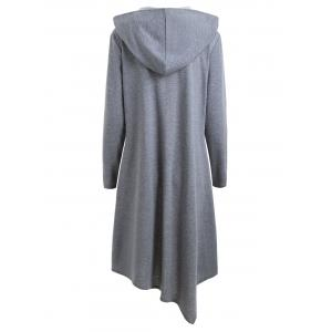 Duffle Button Plus Size Long Asymmetric Hooded Coat -