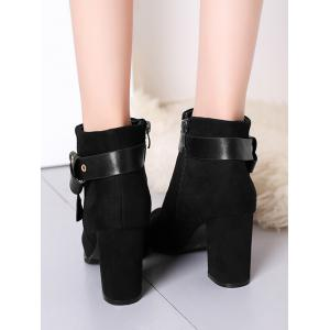 Ankle Buckle Strap Side Zipper Boots -