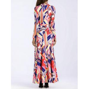 Plunge Geometric Print Floor Length Dress -