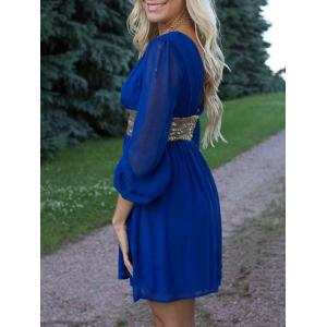 Chiffon Surplice Dress with Sequin -