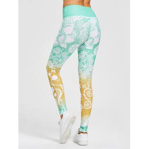 Floral Print High Waisted Gym Leggings -