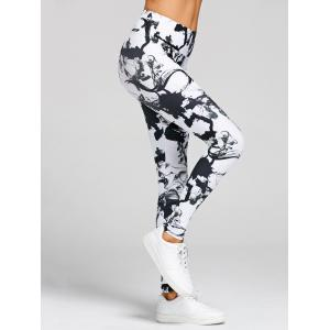 Leggings de Yoga Moulants Imprimé à Taille Haute -