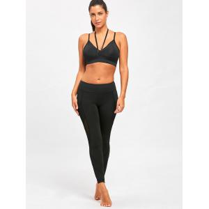 Mesh Insert Yoga Leggings with Pocket -