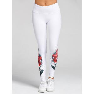 3D Rose Print Skinny High Waist Leggings -