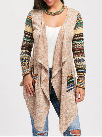 Snowflake Print Long Sleeve Draped Cardigan