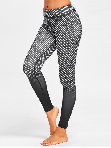 Sale Fitness Argyle Printed Ombre  Leggings - M BLACK Mobile