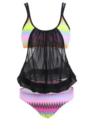Cheap Mesh Sheer Printed Plus Size Swimsuit COLORMIX XL