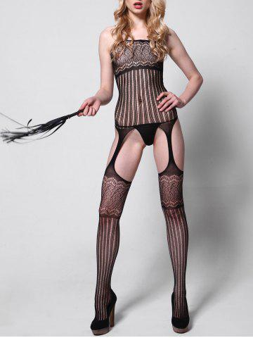 Shop Striped Sheer Cut Out Bodystockings