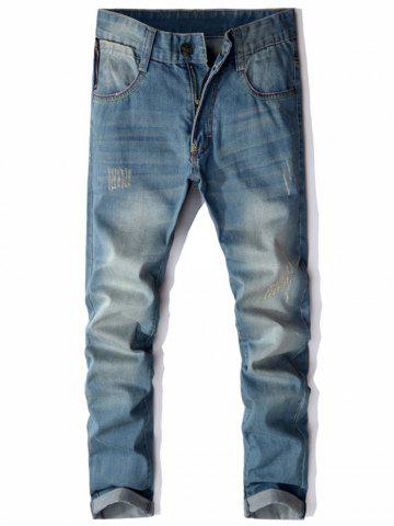 Straight Leg Zip Pocket Distressed Jeans