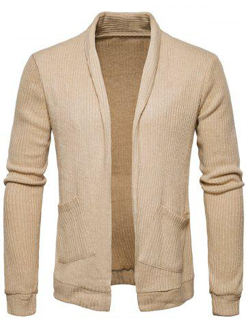 Pockets Open Front Knit Cardigan
