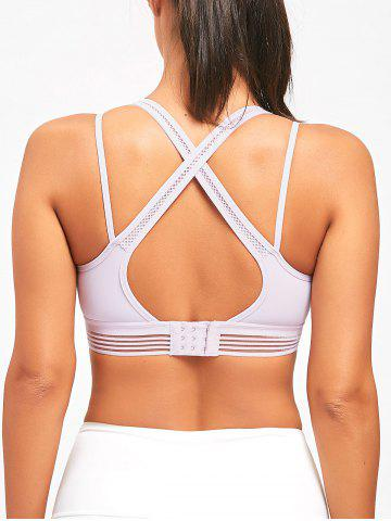 New Criss Cross Straps Sports Padded Bra - TARO PURPLE L Mobile