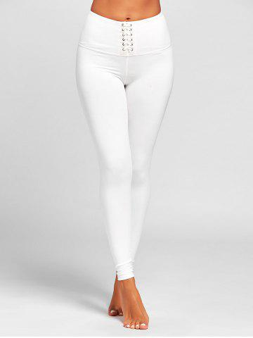Trendy Sports  High Rise Criss Cross Leggings WHITE L