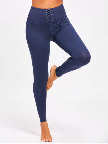 Trendy Sports  High Rise Criss Cross Leggings - S PURPLISH BLUE Mobile
