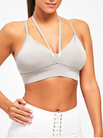 Unique Padding Halter Yoga Plunge Bra - M GRAY Mobile