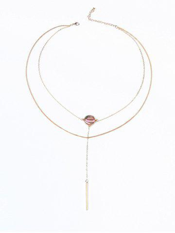 Illusion Pattern Round Bar Two Layered Necklace