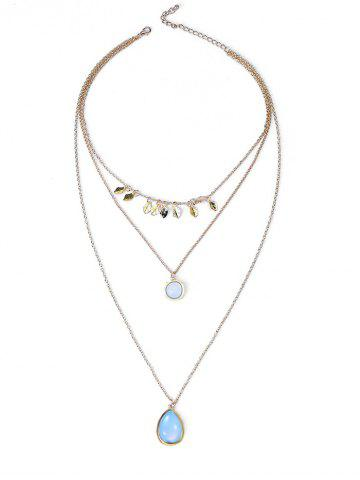 Waterdrop Leaf Pendant Three Layered Necklace