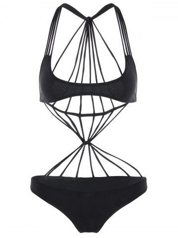 Affordable Strappy Bralette One Piece Swimsuit BLACK L
