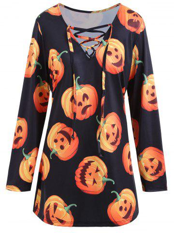 Affordable Halloween Pumpkin Lace Up Plus Size Tee BLACK 3XL