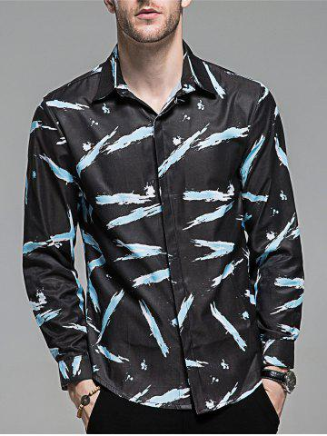Hot Hidden Button Long Sleeve Printed Shirt