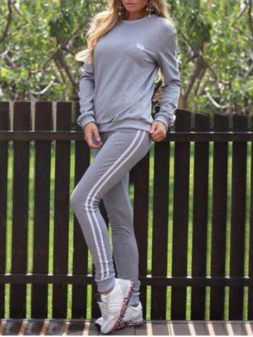 Sale Striped Panel Sporty Sweat Suit - L GRAY Mobile