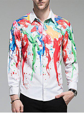Sale Hidden Button Paint Splash Shirt