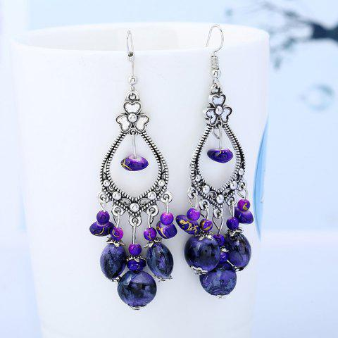Beaded Tassel Bohemia Flower Design Dangle Boucles d'oreilles Pourpre