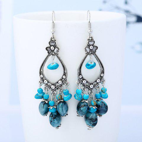 Beaded Tassel Bohemia Flower Design Dangle Boucles d'oreilles