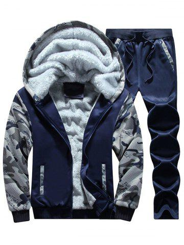 Flocking Camouflage Hoodie and Sweatpants Tracksuit