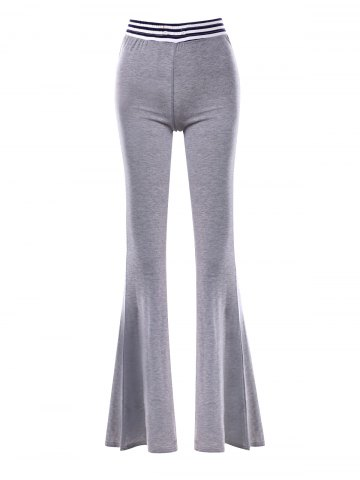 Fancy Striped Panel Maxi Flare Pants GRAY M