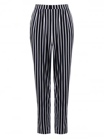 Stripe Print Tapered Pants Noir Bande M