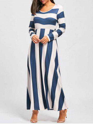 Unique Long Sleeve Striped Floor Length Dress