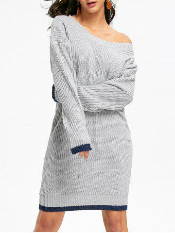 Shop Drop Shoulder Chunky Mini Sweater Dress GRAY ONE SIZE