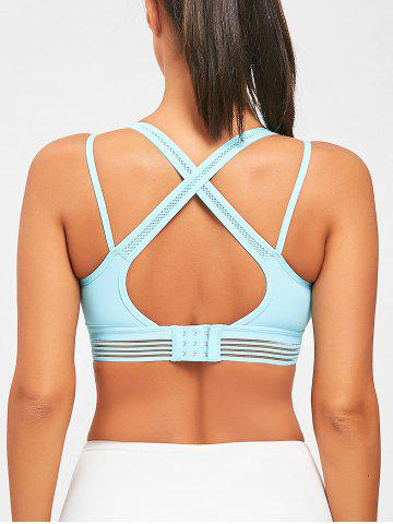Online Criss Cross Straps Sports Padded Bra - L WINDSOR BLUE Mobile