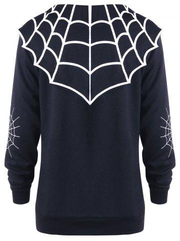 Discount Halloween Plus Size Spider Web Monochrome Coat