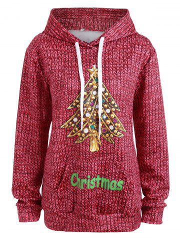 Buy Christmas Tree Rhinestone Kangaroo Pocket Hoodie