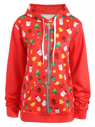 Unique Zip Up Christmas Tree Bells Santa Claus Hoodie