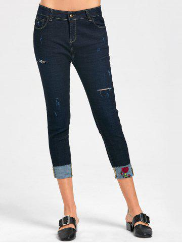Trendy Rose Embroidery Ripped Capri Jeans - XL MIDNIGHT Mobile