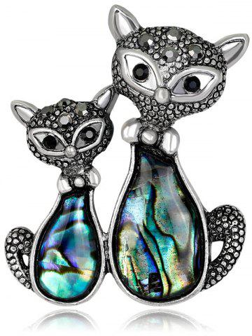 Affordable Stylish Cat Pattern Shell Brooch - BLACK  Mobile