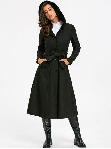 Latest Longline Hooded Flare Coat with Tie Belt
