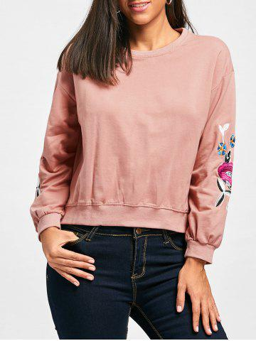 Slit High Low Flower Embroidered Sweatshirt