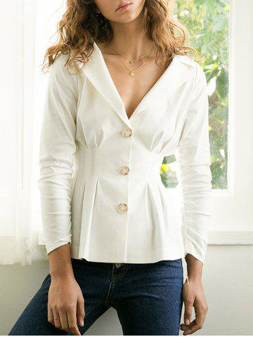 Latest Lapel Button Up Waisted Blazer - L WHITE Mobile