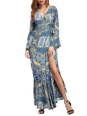 Surplice Long Printed Mermaid Slit Dress