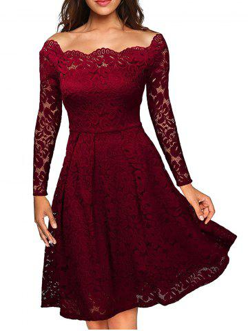 Slash Neck Semi Formal Lace Dress Rouge vineux  L